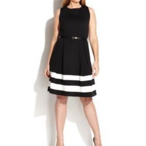 Calvin Klein Black & White Striped Dress